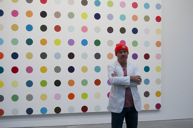 Damien Hirst at his Gagosian 'Complete Spot Paintings' show in 2012 (image via Andrew Russeth/16 Miles of String on Flickr)