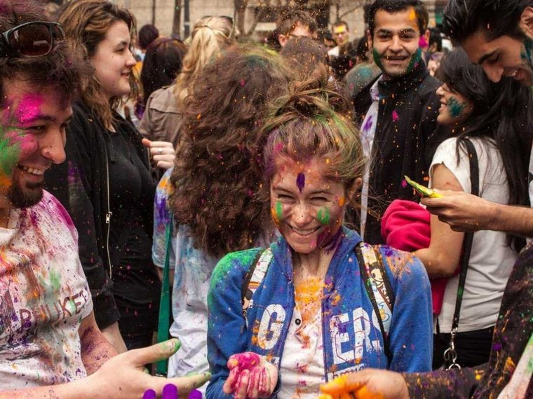Get covered in colored dye to celebrate Holi, the Hindu festival of colors. There's a big Holi celebration in Tribeca and in Brooklyn on May 3.