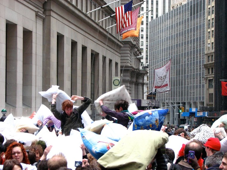 Whack a stranger with a pillow on April 5, International Pillow Fight Day. Bring your own pillow to Washington Square Park and start brawling.