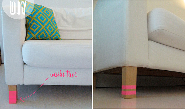 washi tape sofa legs you knew we had to include some washi tape in this round up try a different striped pattern for each leg of your sofa the best part